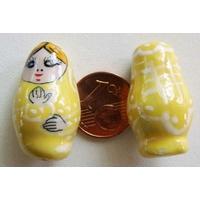 Perles Poupées Russes Porcelaine JAUNE par 2 pcs