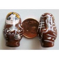 Perles Poupées Russes Porcelaine MARRON par 2 pcs