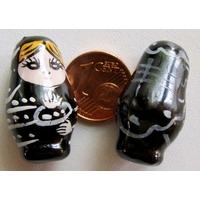 Perles Poupées Russes Porcelaine NOIR par 2 pcs