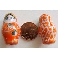 Perles Poupées Russes Porcelaine ORANGE par 2 pcs