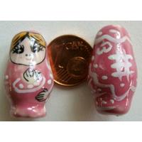 Perles Poupées Russes Porcelaine ROSE par 2 pcs