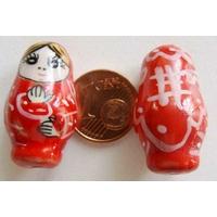 Perles Poupées Russes Porcelaine ROUGE par 2 pcs