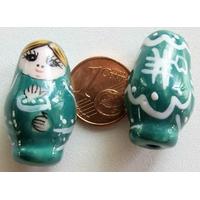 Perles Poupées Russes Porcelaine VERT par 2 pcs