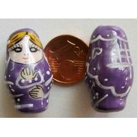 Perles Poupées Russes Porcelaine VIOLET par 2 pcs
