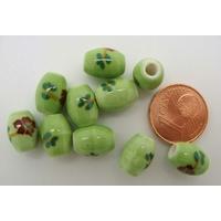Perles PORCELAINE Ovales 10x8mm VERT CLAIR FLEUR Marron par 10 pcs