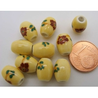Perles PORCELAINE Ovales 10x8mm JAUNE PALE  FLEUR Marron par 10 pcs