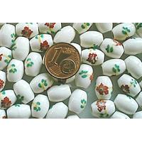 Perles PORCELAINE Ovales 10x8mm BLANC FLEUR Marron par 10 pcs