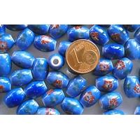 Perles PORCELAINE Ovales 10x8mm BLEU FLEUR Marron par 10 pcs