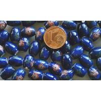 Perles PORCELAINE Ovales 10x8mm BLEU FONCE FLEUR Marron par 10 pcs
