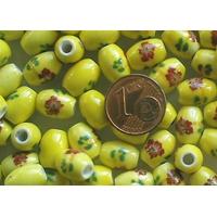 Perles PORCELAINE Ovales 10x8mm JAUNE FLEUR Marron par 10 pcs