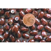 Perles PORCELAINE Ovales 10x8mm MARRON FLEUR Marron par 10 pcs