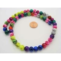 Perles verre MARBRE rondes 8mm MIX couleurs par 54 pcs
