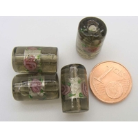 Perles verre Bande argentée TUBES 16mm GRIS VERT par 4 pcs