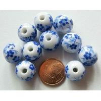 Perles PORCELAINE rondes 12mm BLANC FLEUR BLEU par 10 pcs