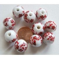 Perles PORCELAINE rondes 12mm BLANC FLEUR ROUGE par 10 pcs