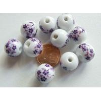 Perles PORCELAINE rondes 12mm BLANC FLEUR VIOLET par 10 pcs