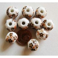 Perles PORCELAINE rondes 12mm BLANC FLEUR MARRON par 10 pcs