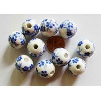 Perles PORCELAINE rondes 16mm BLANC FLEUR BLEU par 10 pcs