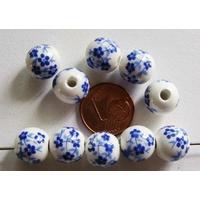 Perles PORCELAINE rondes 10mm BLANC FLEUR BLEU par 10 pcs