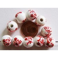 Perles PORCELAINE rondes 10mm BLANC FLEUR ROUGE par 10 pcs