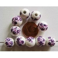 Perles PORCELAINE rondes 10mm BLANC FLEUR VIOLET par 10 pcs