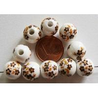 Perles PORCELAINE rondes 10mm BLANC FLEUR MARRON par 10 pcs