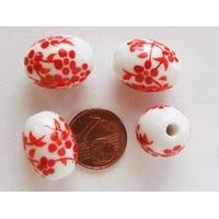 Perles PORCELAINE Ovale 18x14mm BLANC FLEUR ROUGE par 5 pcs