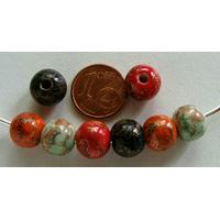 Perles PORCELAINE Rondes 10mm MIX COULEURS motifs dorés par 8 pcs
