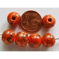 Perles PORCELAINE Rondes 10mm ORANGE motifs dorés par 6 pcs