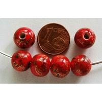 Perles PORCELAINE Rondes 10mm ROUGE motifs dorés par 6 pcs
