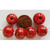 Perles PORCELAINE Rondes 12mm ROUGE motifs dorés par 6 pcs