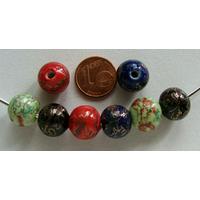 Perles PORCELAINE Rondes 12mm MIX COULEURS motifs dorés par 8 pcs