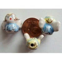 Perles Porcelaine ANGE BLEU 15mm par 2 pcs