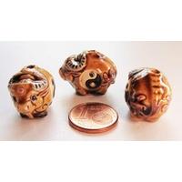 Perles Porcelaine BOEUF VACHE 21mm par 1 pc
