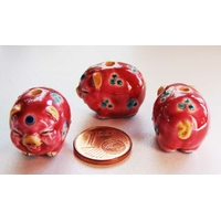 Perles Porcelaine COCHON PORC Rouge 21mm par 1 pc