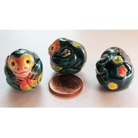 Perles Porcelaine SINGE vert 20mm par 1 pc
