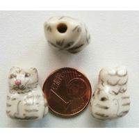 Perles Porcelaine CHAT tigré GRIS 18mm par 2 pcs