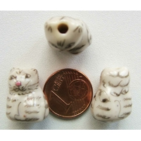 Perles Porcelaine CHAT tigré GRIS 18mm par 2 pcs