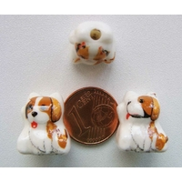 Perles Porcelaine CHIEN BLANC MARRON 16mm par 2 pcs