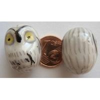 Perles CHOUETTE Porcelaine BLANC par 2 pcs