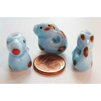Perles Porcelaine DRAGON Bleu 18mm par 2 pcs