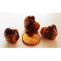 Perles Porcelaine LION MARRON 17mm par 2 pcs