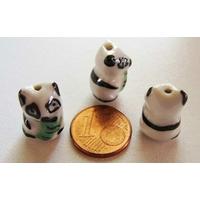 Perles Porcelaine PANDA Noir et Blanc 17mm par 2 pcs