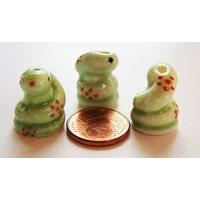 Perles Porcelaine SERPENT Vert 18mm par 2 pcs