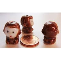 Perles Porcelaine SINGE marron 18mm par 2 pcs