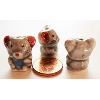 Perles Porcelaine RAT / SOURIS GRIS 18mm par 2 pcs