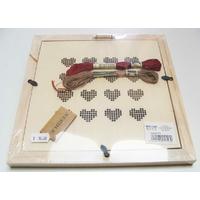 Kit broderie CADRE Coeur support 23cm fil rouge et marron aiguille