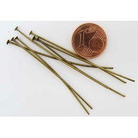Tiges 50mm tete plate BRONZE par 100 pcs