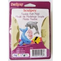 Moule Mer Animaux Marins pour argile pâte molle plaque12cm Sculpey