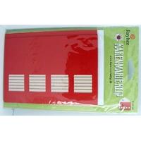Carte à fenêtre Passe-partout 4 carrés Rouge 106x152mm double + enveloppes par 4 pièces